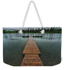 Weekender Tote Bag featuring the photograph Gloomy Rainy Day On Norbury Lake by Darcy Michaelchuk