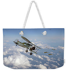 Weekender Tote Bag featuring the digital art  Gloster Gladiator - Malta Defiant by Pat Speirs