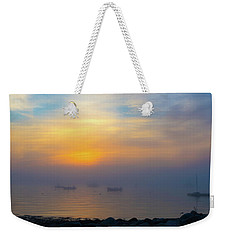 Gloucester Harbor Foggy Sunset Weekender Tote Bag