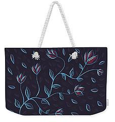 Glowing Blue Abstract Flowers Weekender Tote Bag