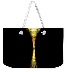 Weekender Tote Bag featuring the digital art Glowing Brass Lamp Stand by James Fannin