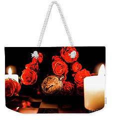 Glowing Clock With Flowers Weekender Tote Bag