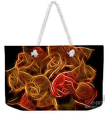 Glowing Golden Rose Bouquet Weekender Tote Bag by Linda Phelps
