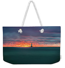 Glowing Sunset On Lake With Lighthouse Weekender Tote Bag