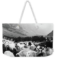 Weekender Tote Bag featuring the mixed media Goats In Norway- By Linda Woods by Linda Woods