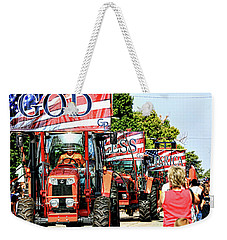 Weekender Tote Bag featuring the photograph God Bless America And Farmers by Toni Hopper