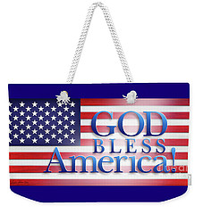 Weekender Tote Bag featuring the mixed media God Bless America by Shevon Johnson