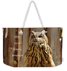 Weekender Tote Bag featuring the photograph God Equals Owl by Debby Pueschel