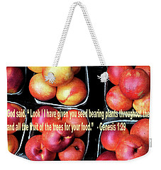 God Gives Fruit For Food Weekender Tote Bag