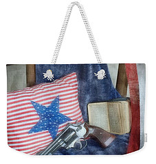 Weekender Tote Bag featuring the photograph God, Guns And Old Glory by Benanne Stiens