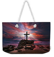Weekender Tote Bag featuring the photograph God Is My Rock Special Edition Fine Art by Justin Kelefas
