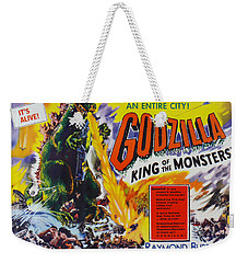 Godzilla King Of The Monsters An Enraged Monster Wipes Out An Entire City Vintage Movie Poster Weekender Tote Bag