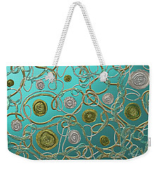 Gold And Silver Abstract Weekender Tote Bag by Barbara Chichester