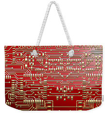 Gold Circuitry On Red Weekender Tote Bag
