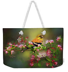 Gold Finch And Blossoms Weekender Tote Bag