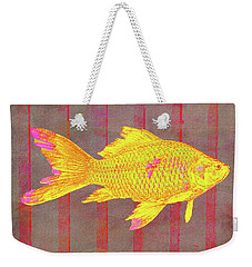Gold Fish On Striped Background Weekender Tote Bag