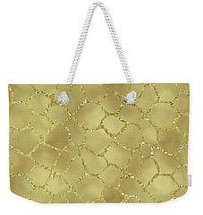 Gold Glam Giraffe Print Weekender Tote Bag by P S