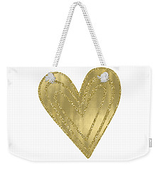 Gold Glam Heart Weekender Tote Bag by P S