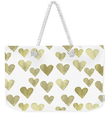 Gold Hearts Weekender Tote Bag by P S