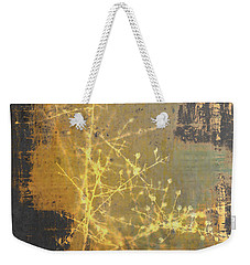 Gold Industrial Abstract Christmas Tree Weekender Tote Bag by Suzanne Powers