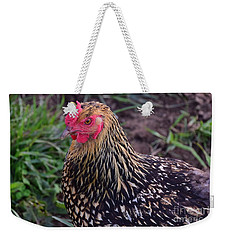 Weekender Tote Bag featuring the photograph Gold Laced Wyandotte by Mark McReynolds