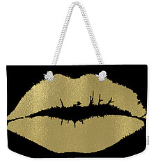Gold Lips Kiss Weekender Tote Bag by P S