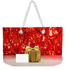 Weekender Tote Bag featuring the photograph Gold Present With Place Card  by Ulrich Schade