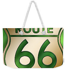 Weekender Tote Bag featuring the digital art Gold Route 66 Sign by Chuck Staley