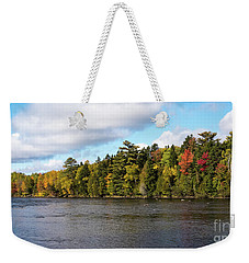 Weekender Tote Bag featuring the photograph Golden Autum Day by Sandy Molinaro
