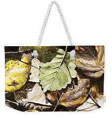 Weekender Tote Bag featuring the painting Golden Autumn - Talkeetna Leaves by Karen Whitworth