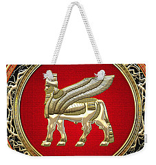 Golden Babylonian Winged Bull  Weekender Tote Bag
