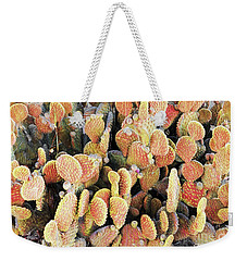 Golden Beaver Tail Catcus Weekender Tote Bag by Linda Phelps