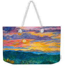 Weekender Tote Bag featuring the painting Golden Blue Ridge Sunset by Kendall Kessler