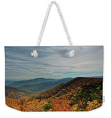 Weekender Tote Bag featuring the photograph Golden Blue Ridge Under The Clouds by Lara Ellis