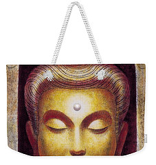 Weekender Tote Bag featuring the painting Golden Buddha by Sue Halstenberg