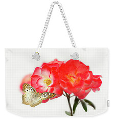 Golden Butterfly On Roses Weekender Tote Bag