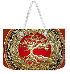 Golden Celtic Tree Of Life  Weekender Tote Bag by Serge Averbukh
