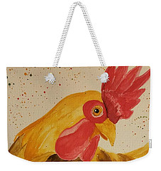 Golden Chicken Weekender Tote Bag by Maria Urso