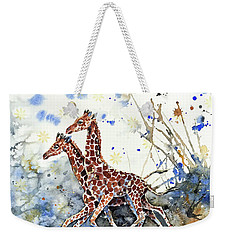 Weekender Tote Bag featuring the painting Golden Childhood  by Zaira Dzhaubaeva