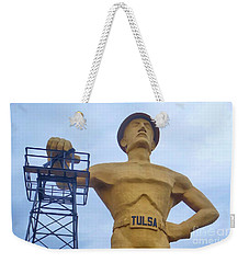 Golden Driller 76 Feet Tall Weekender Tote Bag by Janette Boyd