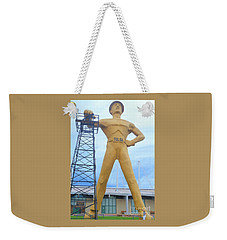 Weekender Tote Bag featuring the photograph Golden Driller Tulsa Oklahoma by Janette Boyd