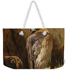 Golden Eagles At Their Eyrie Weekender Tote Bag by Archibald Thorburn