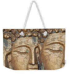 Golden Faces Of Buddha Weekender Tote Bag by Linda Prewer