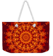 Golden Fractal Mandala Daisy Weekender Tote Bag