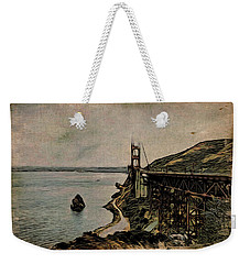 Weekender Tote Bag featuring the painting Golden Gate Bridge by Joan Reese