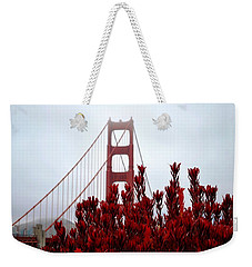 Golden Gate Bridge Red Flowers Weekender Tote Bag