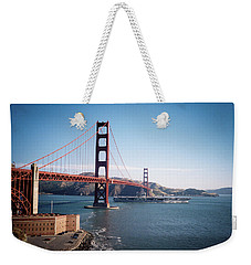 Golden Gate Bridge With Aircraft Carrier Weekender Tote Bag