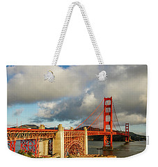Weekender Tote Bag featuring the photograph Golden Gate From Above Ft. Point by Bill Gallagher