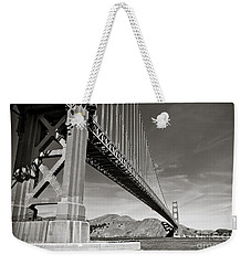 Golden Gate From The Water - Bw Weekender Tote Bag by Darcy Michaelchuk