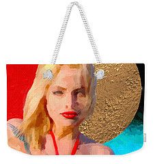 Weekender Tote Bag featuring the digital art Golden Girl No. 2 by Serge Averbukh
